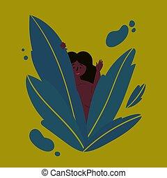 Hawaiian girl looks out of the tropics leaves