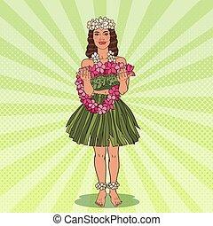 Hawaiian Girl with Tropical Flower Necklace. Pop Art vector illustration