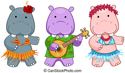 Hawaiian Hippos with Clipping Path