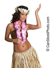 Beautiful hawaiian hula dancer girl