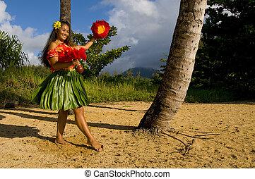 Hawaiian Hula dancer - Hawaiian teenage girl dancing Hula on...