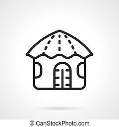 Hawaiian hut simple line vector icon