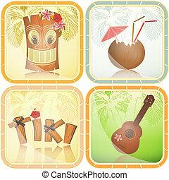 Hawaiian icons set