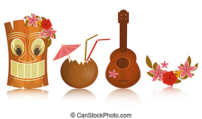 Hawaiian icons - tiki, ukulele, hibiscus on white background - vector illustration
