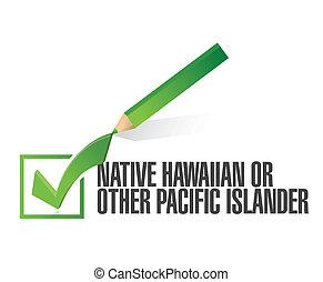 hawaiian., illustration, course, cueillir, selection., indigène