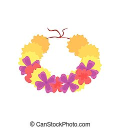 Hawaiian lei with bright colorful flowers, traditional necklace cartoon vector illustration