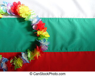 Hawaiian Necklace over the Flag of Bulgaria