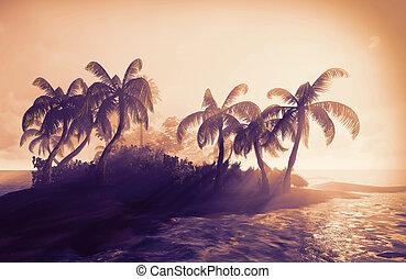 Hawaiian paradise on island - grungy postcard