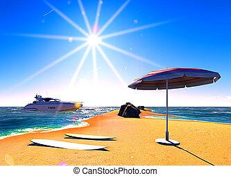 Hawaiian paradise - beach in midday sun