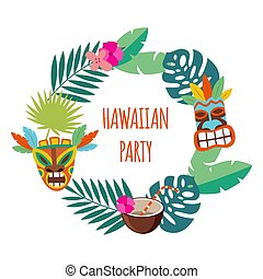 Hawaiian party banner with leaves and mask flat vector illustration isolated.