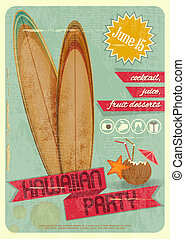 Hawaiian party - Retro Card. Invitation to Hawaiian Party...