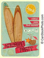 Hawaiian party - Retro Card. Invitation to Hawaiian Party...