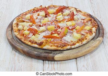 Hout fruit hartstocht tafel for Pizza bakken op tafel