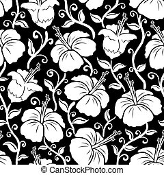 Hawaiian print. Seamless hibiscus. - Illustration of...