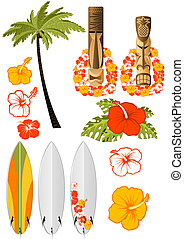 Hawaiian rest attributes, Hibiscus, Surfboards and tikis