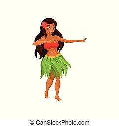 hawaiian, rok, haar, vector, meisje, haar, dancing, witte , gras, achtergrond, hibiscus, illustratie, bloem