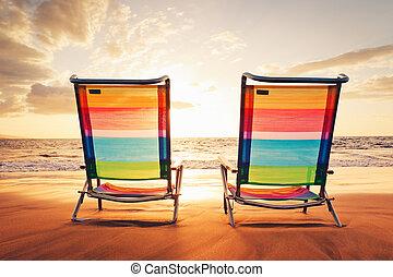 hawaiian, semester, solnedgång, begrepp