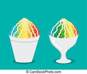 Hawaiian shave ice with rainbow color, vector