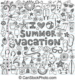 hawaiian, sommar ferier, doodles