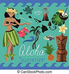 Hawaiian summer set of elements vector