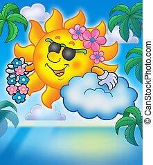 Hawaiian sun with palms