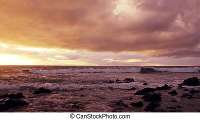 hawaiian sunset - Hawaiian sunset, vibrant sky and ocean