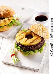 Hawaiian teriyaki burger with grilled pineapple