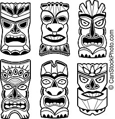 Hawaiian tiki statue masks black and white set - Vector...