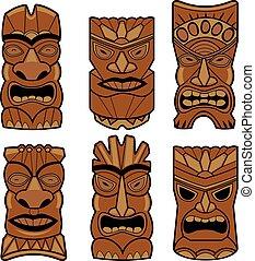 Hawaiian tiki statue masks - Vector illustration set of...