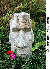 Hawaiian Tiki with Attitude - Stone faced tiki sits...