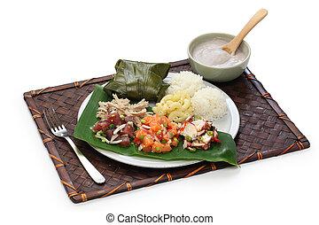 hawaiian traditional plate lunch - ahi poke,lomi lomi...
