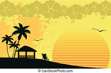 hawaiian tropical beach wallpaper in vector format