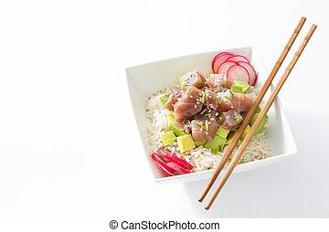 Hawaiian tuna poke bowl with avocado, radishes and sesame...