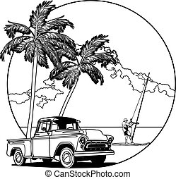 Hawaiian vignette bw - Vectorial bw round vignette with...
