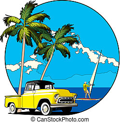 Vectorial round vignette with yellow old-fashioned pickup and two palms on sky and sea background. Fail contains blends.