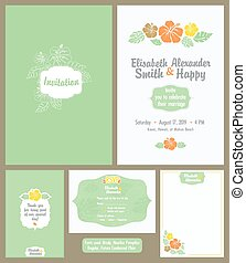 Hawaiian Wedding Invitation Set. Light Green. Elisabeth...