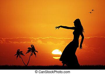 Hawaiian woman at sunset