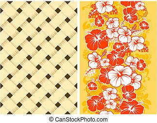 hawaiianer, blumen-, seamless, hintergrund