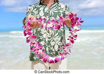 hawaiianer, geben, -, tradition, hawaii, blumenkette, blumen