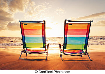 hawaiianer, urlaub, sonnenuntergang, begriff