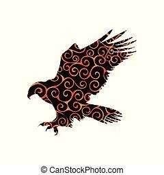 Hawk eagle falcon bird spiral pattern color silhouette...