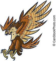 Hawk Eagle or Falcon Diving - Vector cartoon clip art...