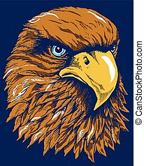 HAWK HEAD - Artistic illustration of falcon head on blue...
