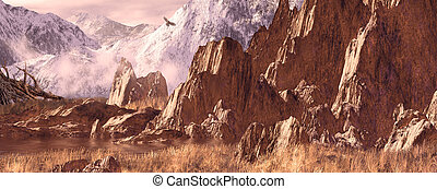 Hawk in the Rockies - Image from an original 9.5x24 painting...