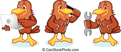 Hawk Mascot Vector with phone