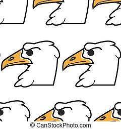 Hawk or eagle bird American symbol seamless pattern