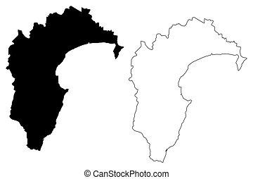 Hawkes Bay Region (Regions of New Zealand, North Island) map...