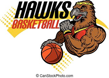 hawks basketball team design with muscular mascot for...