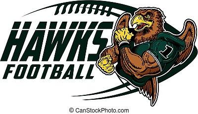 hawks football - muscular hawks football player team design...