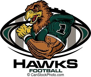 hawks football - muscular hawks football player team design...
